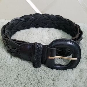 Fossil Black Braided Leather Belt L